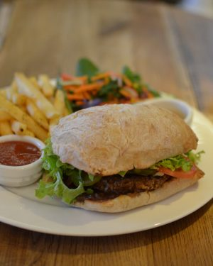 Humming Burger with Salad and Fries